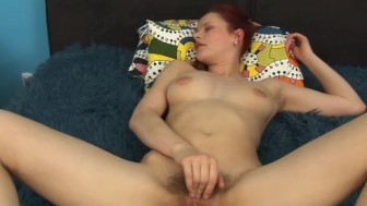 Benji finger fucks her moist hairy box