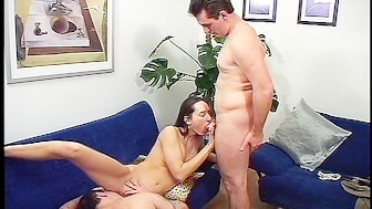 Horny babe has two cocks to play with
