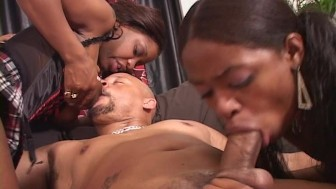 Hot Ebony Chicks play with one man and themselves