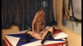 Bigger gal gets rocked on a leather bed (clip)