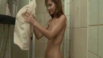 young babe takes a hot shower