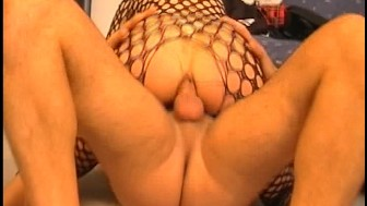 Fucked in the ass while wearing fishnet