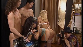 Motorcycle photoshoot turns into a hot foursome. (Clip)