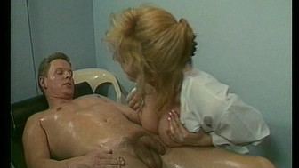 Hot blonde masseuse gives an oily massage with a happy ending.
