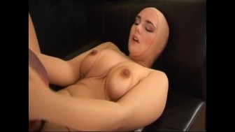 Hairy pussy fucked in nylon catsuit