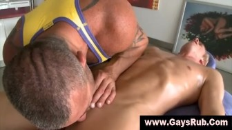 Straight guy gets gay blowjob from masseur