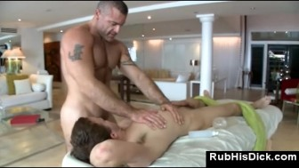 Bear fucks his straight male client in his ass