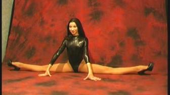 Ballerina Diana stretching her body (movie)