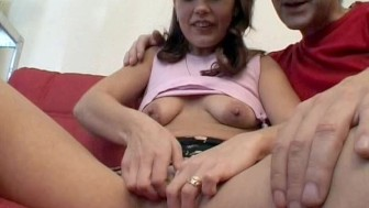 Shy at first, she gets spread wide and fucked