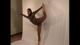 Flexible girl in nylon catsuit (clip)