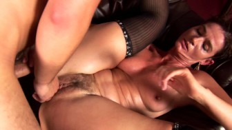 Shorthaired Hazel moans for young dick