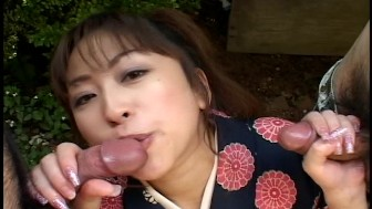 Asian servant double blowjob