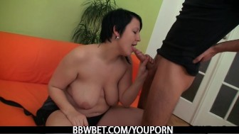 Cute BBW is picked up and fucked