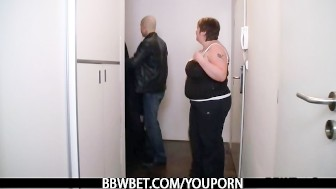 Huge titted fatty is screwed in the shower