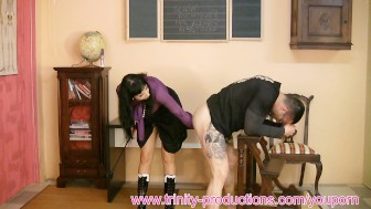 Busty mistress femdom jerking + milking