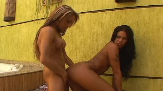 Two hot Latina chicks, ones got a dick - Lust World