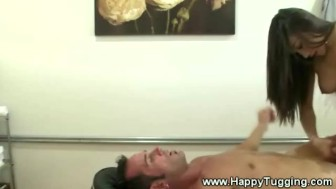 Slutty asian masseuse fucks hard
