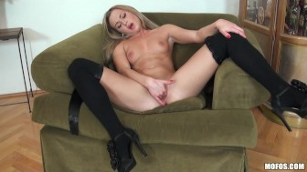Blonde Teen in stockings finger fucks her tight wet pussy