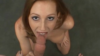 Really cute girl gives a really wet blowjob
