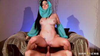 Sexy brunette Latina babe dances and fucks the Sultan's big-dick
