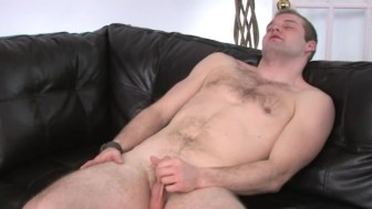 Ultra small dick on the leather sofa