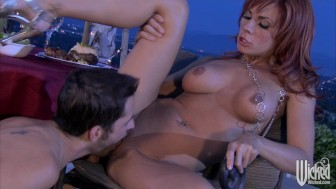 Big-tit redhead wife slut fucks hard-dick outdoors in tight pussy