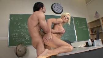 Horny Big-tit blonde school teacher fucks student's dick in class