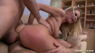 Hot Blonde dominatrix slut is double penetrated in rough threesome