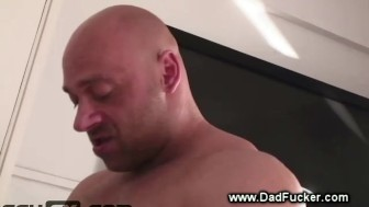 Gay stud gets taken from behind with a muscled hard cock