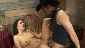 brunet and cowboy sex in the pub