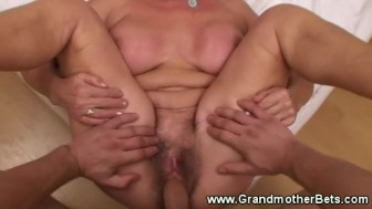 Horny granny loves sucking and fucking
