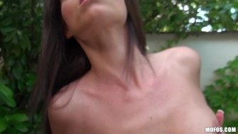 Sexy skinny tattooed Latina rides big-dick to orgasm by the pool