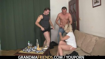 Two guys bangs her hard