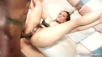 Busty ebony riding a big black cock with her greedy ass