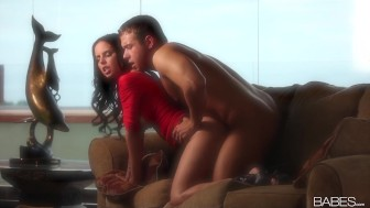 Busty brunette beauty Brandy Aniston passionately rides her man