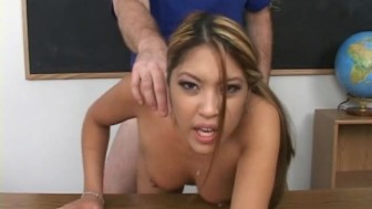 Cute schoolgirl banged by small cock teacher