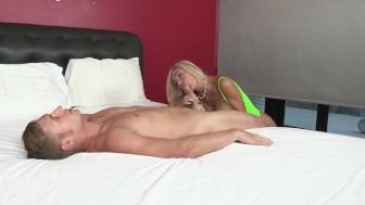 Big-tit blonde MILF shares her poolboy's hard dick in threesome