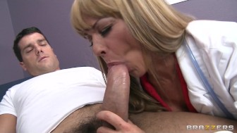 Busty big-tit doctor Shayla Laveaux helps her paitent recover