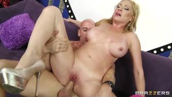 Big-tit blonde MILF Jennifer Best sucks dick on a dating show