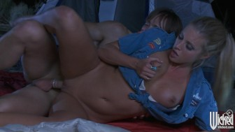 Busty blonde babe Samantha Saint fucks her man on a camping trip