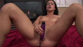 Hot girl heating up by the fireplace - Mavenhouse