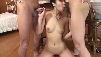 Lady In Red Fucked By Two Guys - Amorz