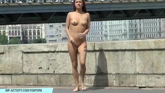 Crazy chick tereza has fun on public streets