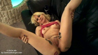 Sexy emo Goth babe strips and shows her shaved pussy and tatted ass