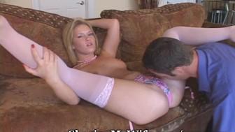 Eating Sasha's Pink Pussy To Orgasm