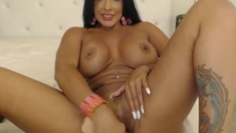 Sexy Latina with BIG Tits Rides Dildo on Cam
