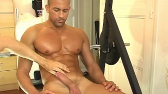 Breno, an handsome hunk guy get wanked his huge cock in spite of him !