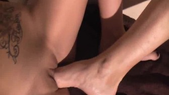 Fisting and foot fucking my girlfriends loose cunt