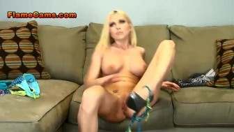 Buxom Blonde Christie Strips And Fingers