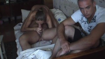 Amateur sucks dicks and gets drilled by two lewd men